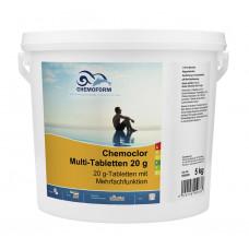 Многофункциональные 3 в 1 медленнорастворимые стаб. таблетки хлора 80%,  20гр.,  5 кг /0508005